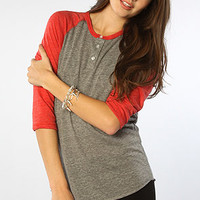 The Eco Heather 3/4 Sleeve Raglan in Eco Gray & True Red