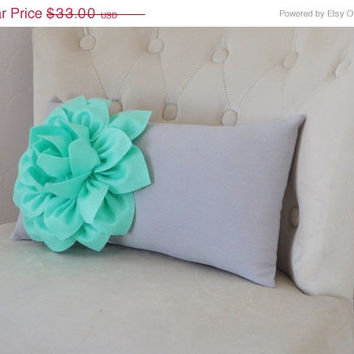 MOTHERS DAY SALE Mint Green Lumbar Pillow -Mint Dahlia on Gray Lumbar Pillow 9 x 16 - Nursery Rocker Recliner Pillow -