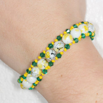 Yellow and green glass beads bracelet Yellow beaded bracelet Yellow glass and crystal bracelet