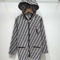 FENDI FF Knit Cardigan Hooded Jacket Coat