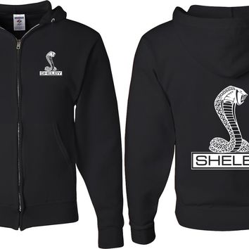 Ford Mustang Full Zip Hoodie Shelby Cobra Front and Back