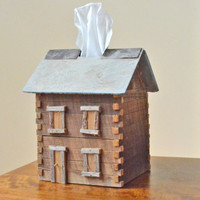 Barn Wood Cabin Tissue Box Cover