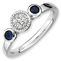 Created Sapphire and Diamond Stackable Ring 1/20ctw