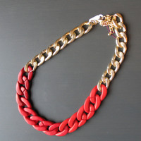 Red Chain Statement Necklace