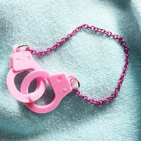 Pink Handcuff Bracelet by WalkingGraffiti on Etsy