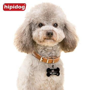 Hipidog Custom Engraved Dog Pet Tag Double Sided Personalized ID Dog Cat Charm Tags Bone Round Heart Shape Support Any Language