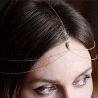 Water Drop Gem head chain Headband Jewelry Women Layered Hair Accessories 2015 Tassel Headpiece Hair Band New
