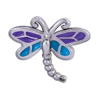 Purple and Blue Dragonfly on Silver Floating Charm