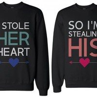 Crewneck Sweatshirts for Women - 365inlove Style Matching Couple Outfit in Black