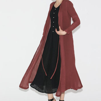 Red Linen Maxi Dress jacket  C690