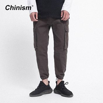 CHINISM 2017 Men's Big Pocket Brown Causal Cargo Pants Brand Clothing Military Cuff Compression Casual Pants