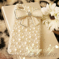 fancy pearl bow girly diamond battery back hard case Cover for iPhone 4s 4g 4