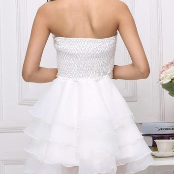 White Patchwork Pleated Off Shoulder Backless Sleeveless Bridesmaid Chiffon Tutu Party Mini Dress