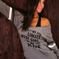 Casual Letter Printed Long Sleeve One Shoulder Sweater