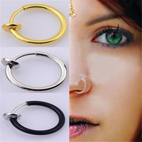 3PCS/Set New Clip On Fake Nose Hoop Ring Ear Septum Lip Navel Earrings Body Non Piercing Black Jewelry