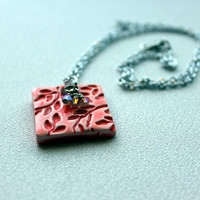 Polymer Clay Tile Pendant Textured and Glazed