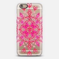 Magenta & Cherry Watercolor Lotus Mandala on transparent iPhone 6 case by Micklyn Le Feuvre | Casetify