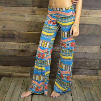 Gong Show Blue Boho Tribal Pants