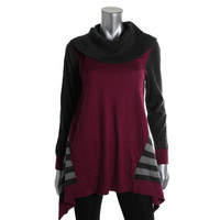 Style & Co. Womens Knit Contrast Trim Pullover Sweater