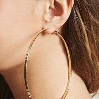 Oversized Hammered Hoop Earrings