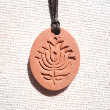 Lotus Flower Aromatherapy Clay Diffuser Pendant, Ceramic,Terracotta Earthy Eco-Friendly Jewelry