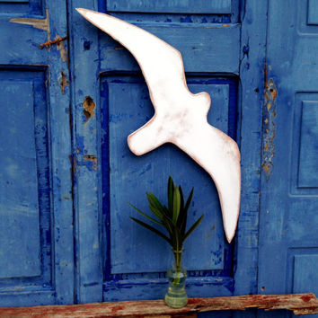 Seagull Sign, White Seagull Art sign, Costal Indoor Outdoor Wood Sign, Beach Decor