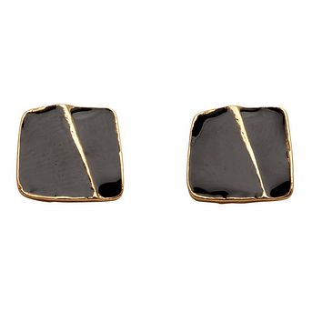 Enamel Square Studs Earrings - Gold