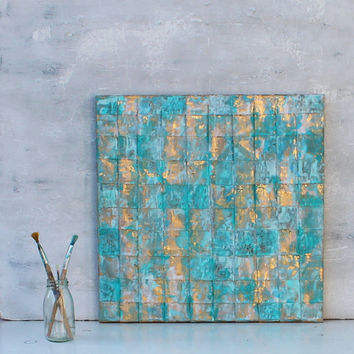 Abstract painting, turquoise gold art, gold leaf, contemporary art, abstract, wall decor, Art Collectibles, unlimited craftworks, artworks