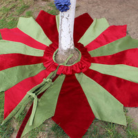 Patchwork Tree Skirt 40' to 70' Christmas Tree Skirt Green Tree Skirt Ready To Ship EXPRESS SHIPPING