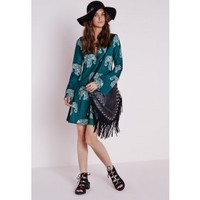 Missguided - Long Sleeve Crepe Swing Dress Elephant Print Teal