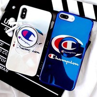 Champion Fashion Women Men Personality Blue-Ray Mobile Phone Cover Case For iphone 6 6s 6plus 6s-plus 7 7plus 8 8plus X