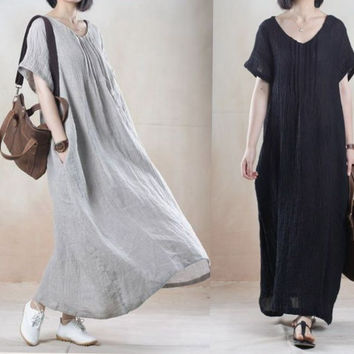 New Brand 2016 Summer Arts Style Womens V-neck Long Maxi Dress Loose Casual Short sleeve Dresses Vintage Cotton Linen Dress K968