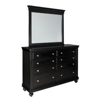 Standard Furniture Essex Black 8 Drawer Dresser w/ Mirror in Black