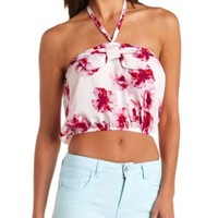 Bow-Front Floral Print Halter Crop Top