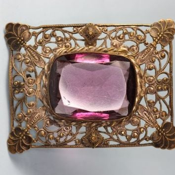 Art Nouveau Filigree Brooch Faceted Amethyst Glass Vintage