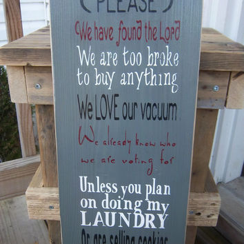 Rustic Sign-No Soliciting Sign-Funny Sign-Wood Sign-Hand Painted Sign-Handmade Sign-Typography Sign-Subway Art-Rustic Decor-Entryway Sign