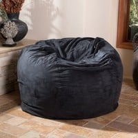 Lennie 4 Ft Black Faux Suede Microfiber Fabric Bean Bag