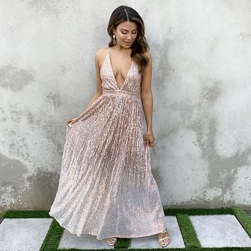 Light Up The Night Rose Gold Ombre Sequin Dress