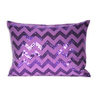 Chevron Sequin Pillow - Purple