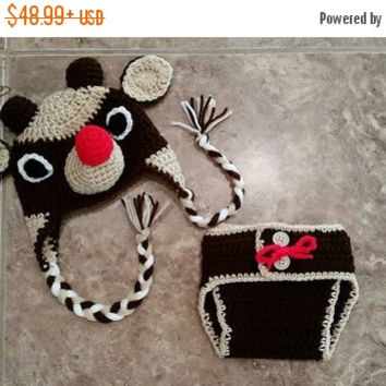ST PADDYS SALE Baby Rudolph Reindeer Hat & Diaper Cover Set Outfit - Newborn Beanie Boy Girl Costume Christmas  Photo Prop Cap Winter