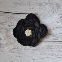 Black Layered Flower & Rosettes with White Feather on White Vintage Lace Headband