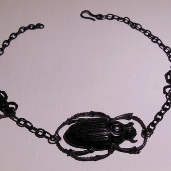 Black Egyptian Inspired Avant-Garde Gothic Scarab Bracelet Anklet Adjustable