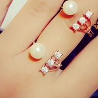 Pearl and Rhinestone Stream Cuff Ring (Slightly Adjustable) - LilyFair Jewelry