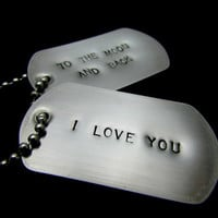 Handstamped Dog Tag Necklace: I love you to the moon and back - Stainless Steel - HANDMADE by the KIDS