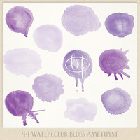 Watercolor clipart circles (44 pc) purple lilac amethyst violet. hand painted for logo design, blogs, making cards, printables wall art etc