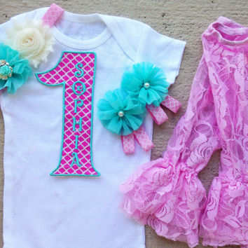 Girl 1st Birthday Outfit Pink and Aqua Quatrefoil - Includes: Iron-On #1, Headband, Lace Leg Warmers and Barefoot Sandals - Smash Cake Photo