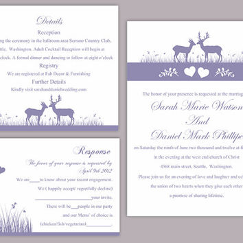 DIY Wedding Invitation Template Set Editable Text Word File Download Printable Reindeer Invitation Purple Wedding Invitation lavender invite