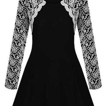 Black Lace Top Long Sleeve Flounce Dress