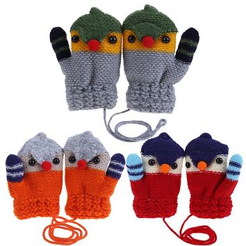 Children Knitted Elastic Fleece Thick Crochet Gloves Full Finger Mittens Cartoon Bird Mittens Warm Winter Gloves for Kids