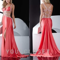 Charming deep-v beading chiffon evening dress from Your Closet